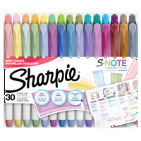 Sharpie S-Note Creative Markers, Highlighters, Assorted Colors, Chisel Tip, 30 Count