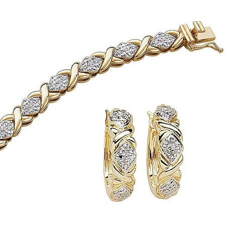 "1/4 Carat T.W. Diamond 14kt Gold-Plated Tennis Bracelet, 8"", with Diamond Accent Hoop Earrings"