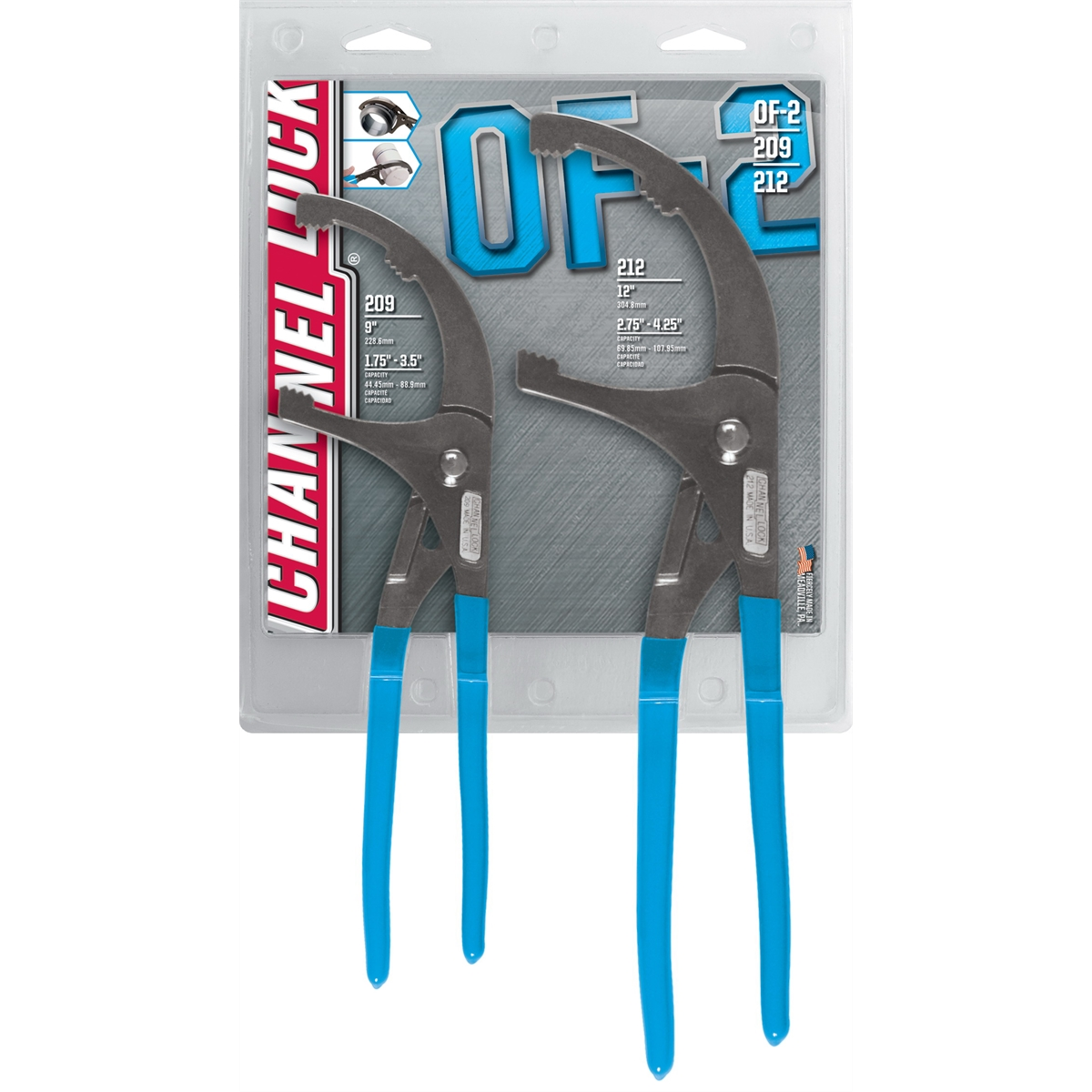 2Pc Oil Filter Plier Set 9in and 12in Pliers