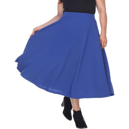 Navy Corduroy Skirt (Women's Plus 'Tasmin' Flare Midi)