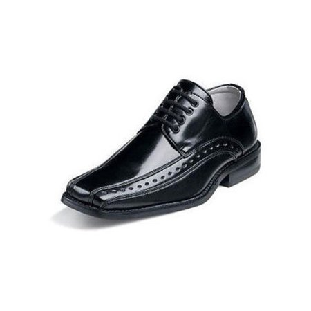 Stacy Adams DEMILL Youth Boys Black Laces Oxford Dress Shoes (13.5) - Kids Black Dress Shoes