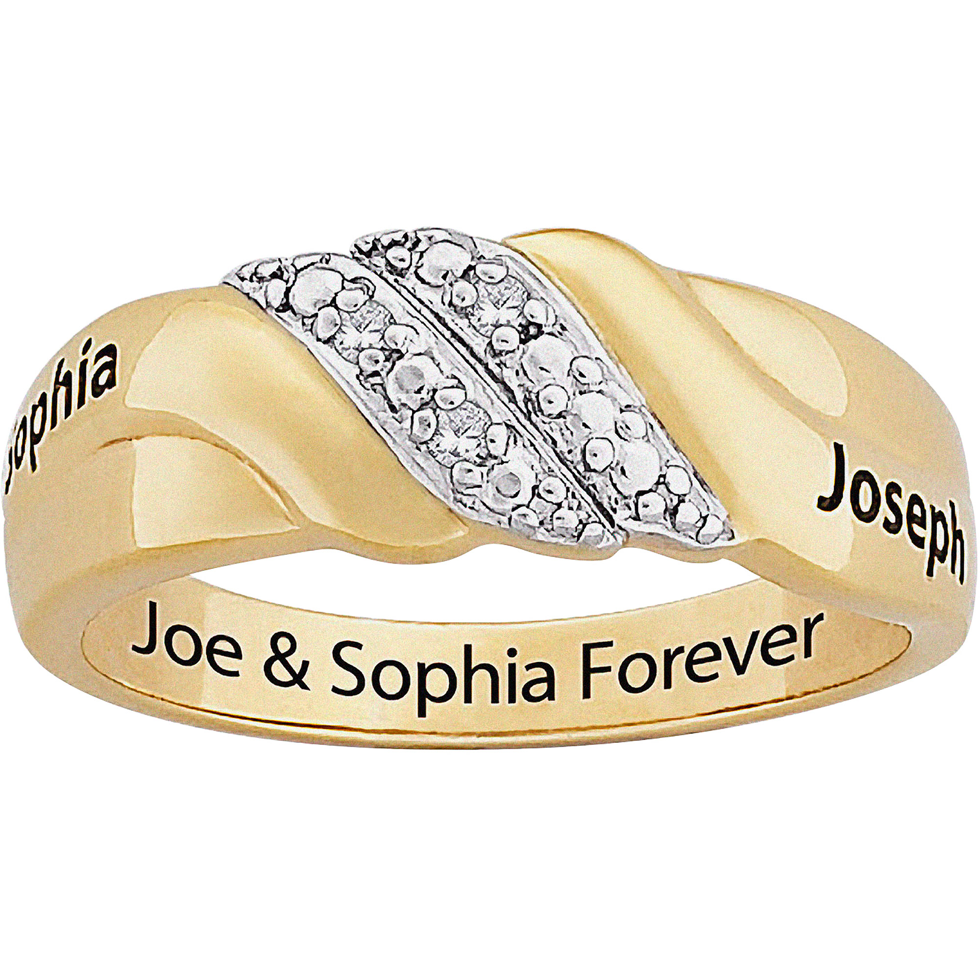 Personalized 0.02 Carat T.W. Diamond Swirl Couple's Name and Inside Engraved Ring