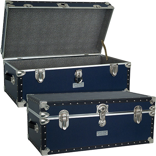 Seward Trunk Classic Collection Footlocker Trunk 25 Gal. Wood Storage Box with Handles, Navy Blue