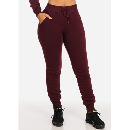 Womens Juniors Casual Cozy Fleece High Waisted Drawstring Pull-On Burgundy Jogger Pants 40846S