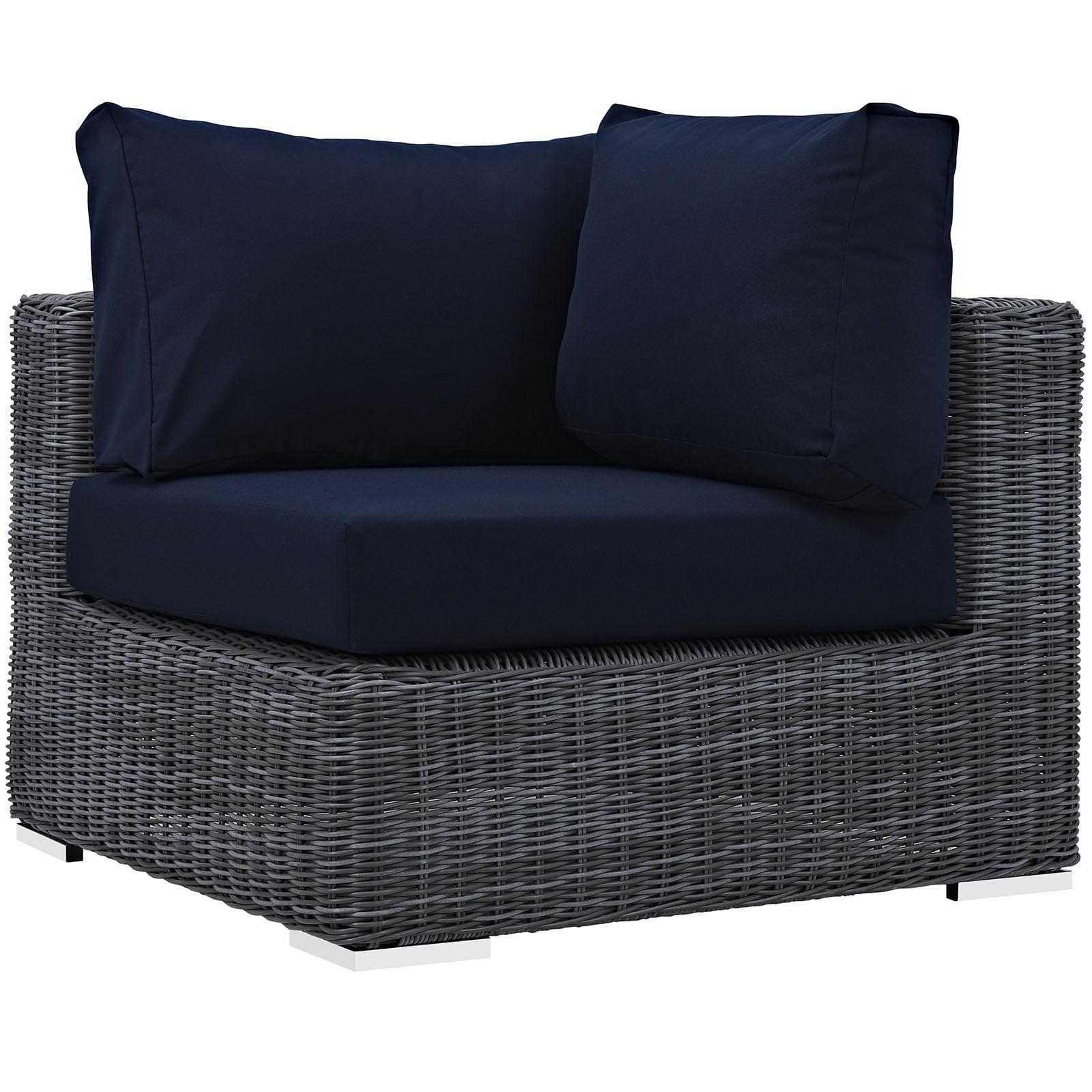 Modern Contemporary Urban Design Outdoor Patio Balcony Corner Lounge Chair, Navy Blue, Rattan