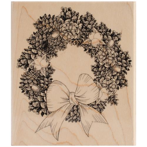 """Penny Black Mounted Rubber Stamp 4""""X4.5""""-Pine Wreath"""
