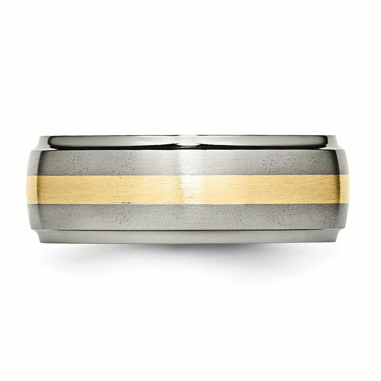Titanium Ridged Edge 14k Yellow Inlay 8mm Brushed/ Wedding Ring Band Size 9.50 Precious Metal Fine Jewelry Gifts For Women For Her - image 3 de 6