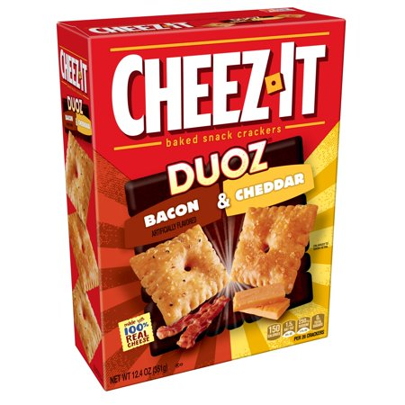 Cheez-It Duoz Baked Bacon & Cheddar Snack Crackers, 12.4
