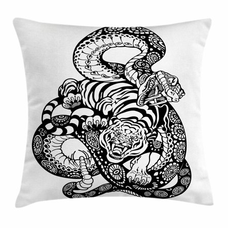 Tiger Throw Pillow Cushion Cover, Tattoo Style Scene of Two Animals Fighting Long Snake with Sublime Large Cat Battle, Decorative Square Accent Pillow Case, 16 X 16 Inches, Black White, by Ambesonne - Tattoos Of Animals
