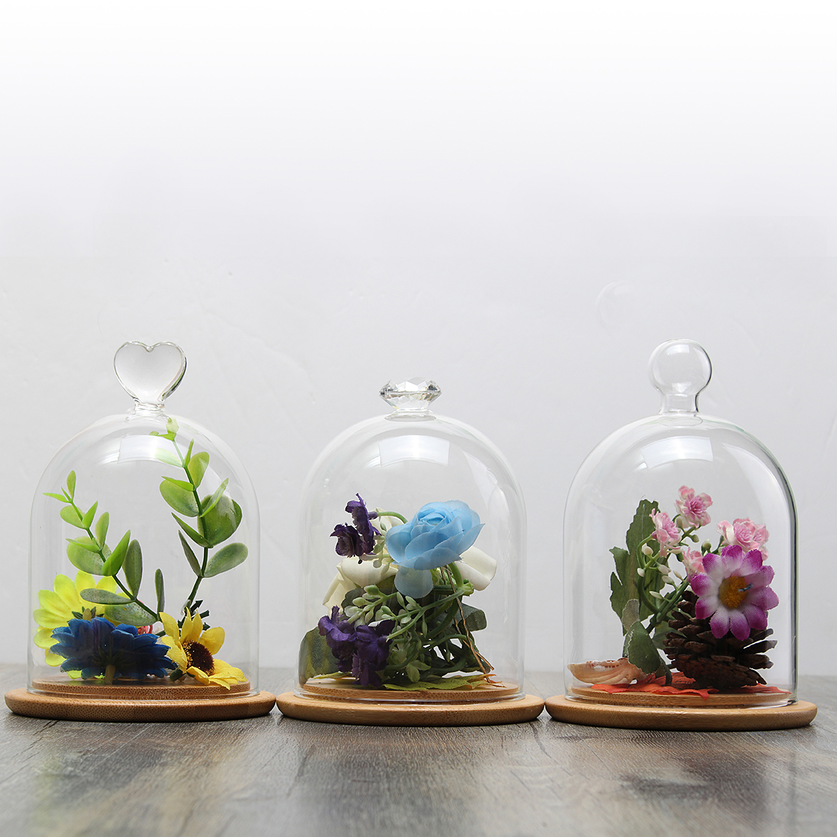 Clear Glass Display Cloche Bell Jar Dome Flower Preserve Vase + Wooden Base