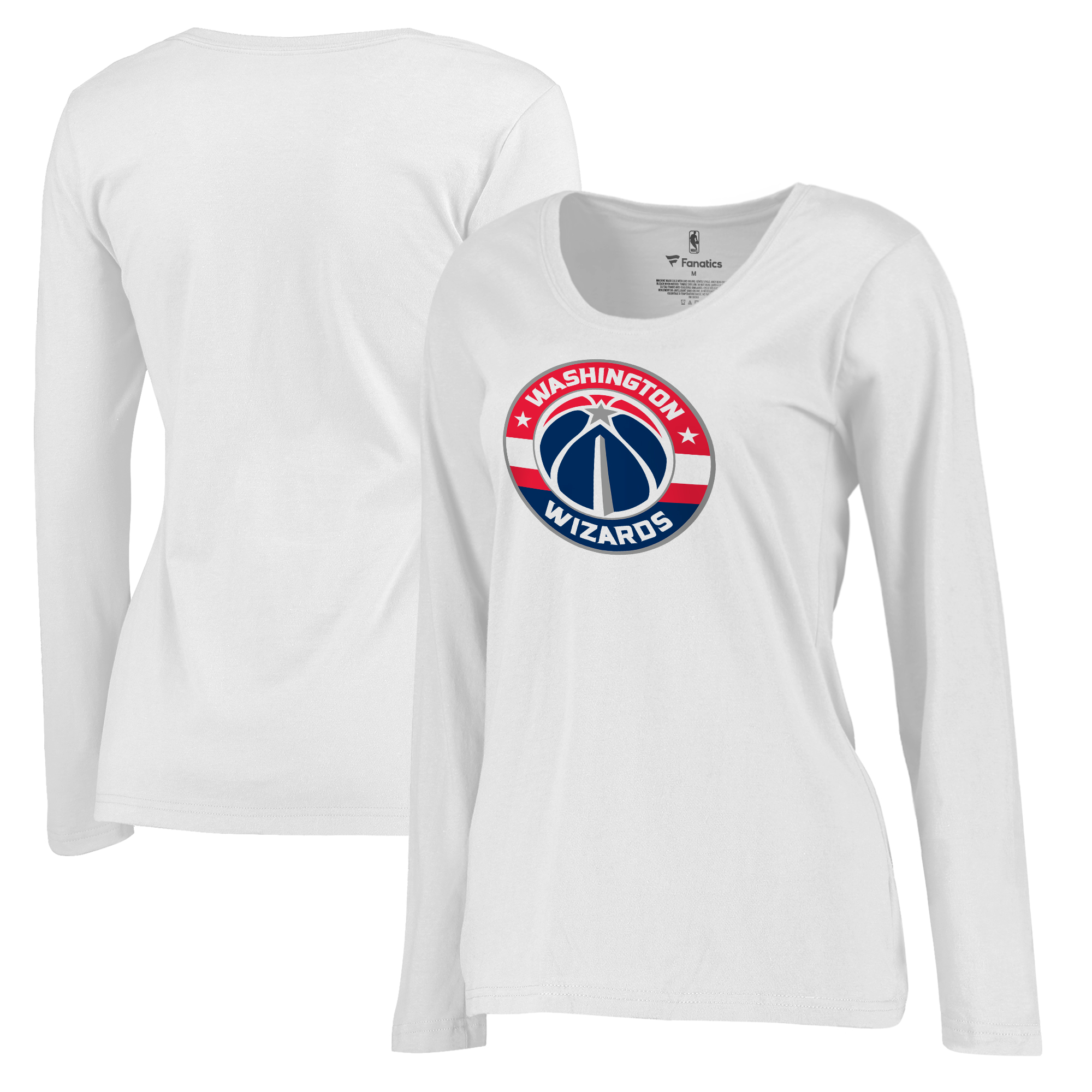 Washington Wizards Fanatics Branded Women's Plus Sizes Team Primary Logo Long Sleeve T-Shirt - White