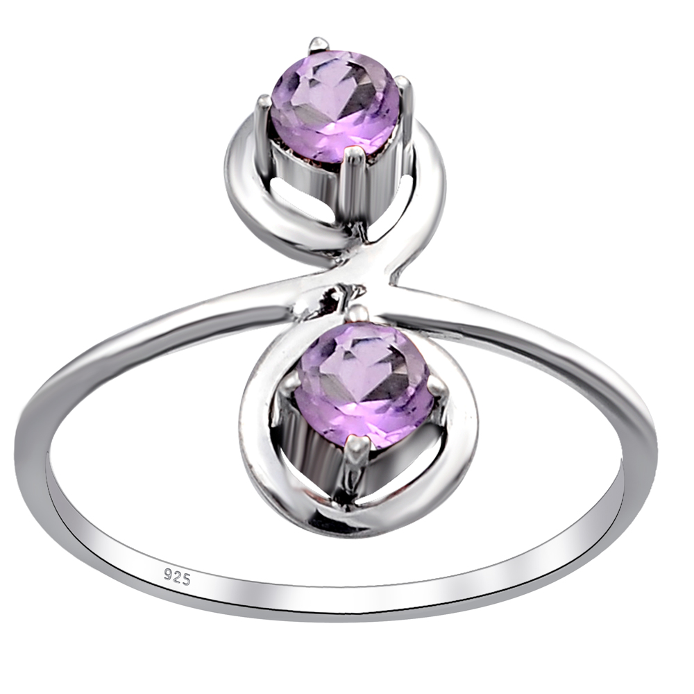 Details about  /Silver Amethyst Ring Silver Amethyst Band 6 mm Round 1 Ct Amethyst February Ring