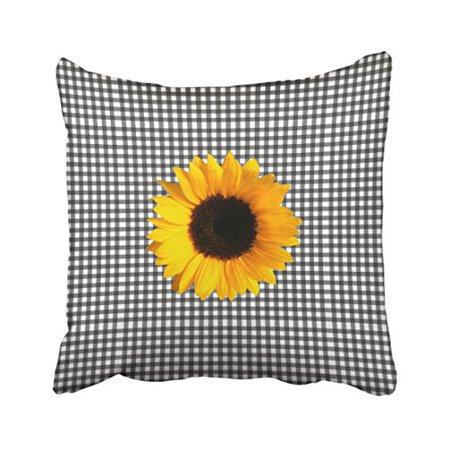 WinHome Vintage Popular Black And White Checkered Sunflower Polyester 18 x 18 Inch Square Throw Pillow Covers With Hidden Zipper Home Sofa Cushion Decorative Pillowcases - Black & White Checkered