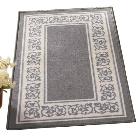 New Gray Ribbed - Floral Border Skid-Resistant Accent Rug, 26