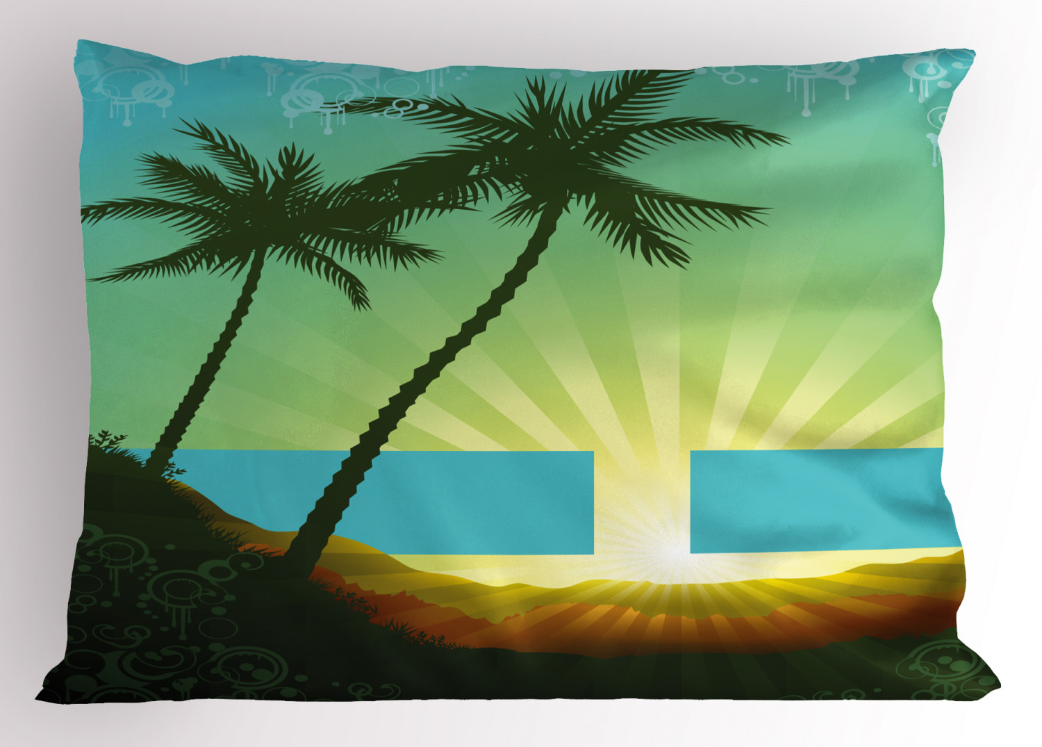 Island Pillow Sham Sunrise in a Tropical Place and Palm Trees Silhouettes  Illustration Art, Decorative Standard King Size Printed Pillowcase, 20 X 20  ...