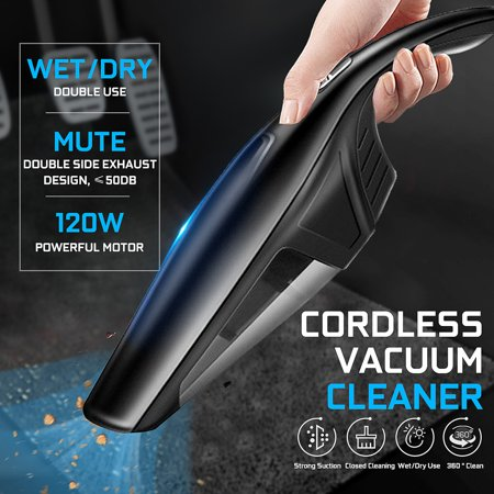 Cordless Vacuum Cleaner, 120W 2200mAh Handheld Vacuum Cleaner Wet/Dry Double Use Pet Hair Vacuum, Car Vacuum Cleaner Dust Busters for Home and Car Interior (Double Portable Vacuum)