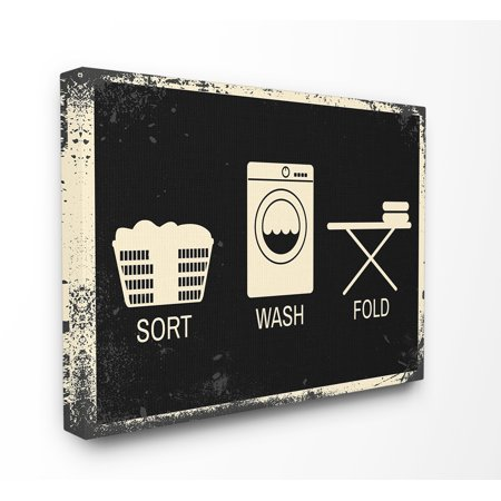 The Stupell Home Decor Collection Sort Wash Fold Symbols Industrial Oversized Stretched Canvas Wall Art