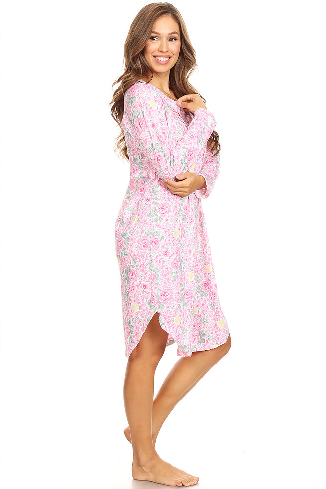 Premiere Fashion - 1654 Womens Nightgown Sleepwear Pajamas Woman Long  Sleeve Sleep Dress Nightshirt Pink 2X - Walmart.com 71c23133c