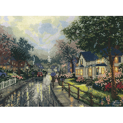 "M C G Textiles Thomas Kinkade Hometown Memories Counted Cross Stitch Kit, 12"" x 9"", 14 Count"