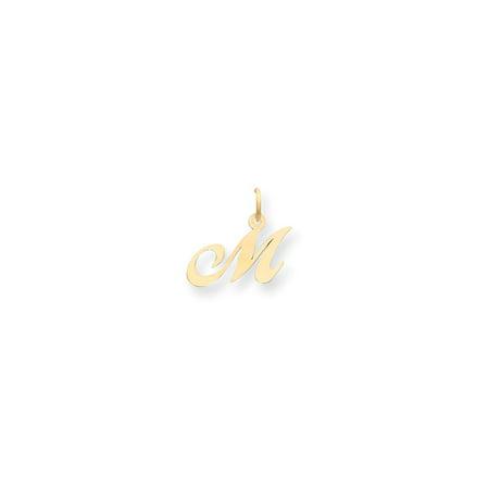 14K Yellow Gold Small Fancy Script Initial M Charm
