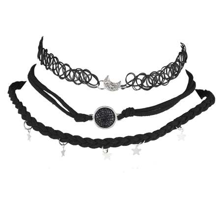 Half Moon Charm - Lux Accessories Black Pendant Silver Moon Star Charm Tatto Choker Necklace Set