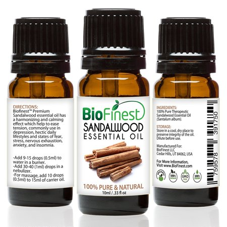 biofinest sandalwood essential oil - 100% pure undiluted - premium organic - therapeutic grade - aromatherapy - clarity/calmness - meditation and prayer - free e-book (10ml) ()
