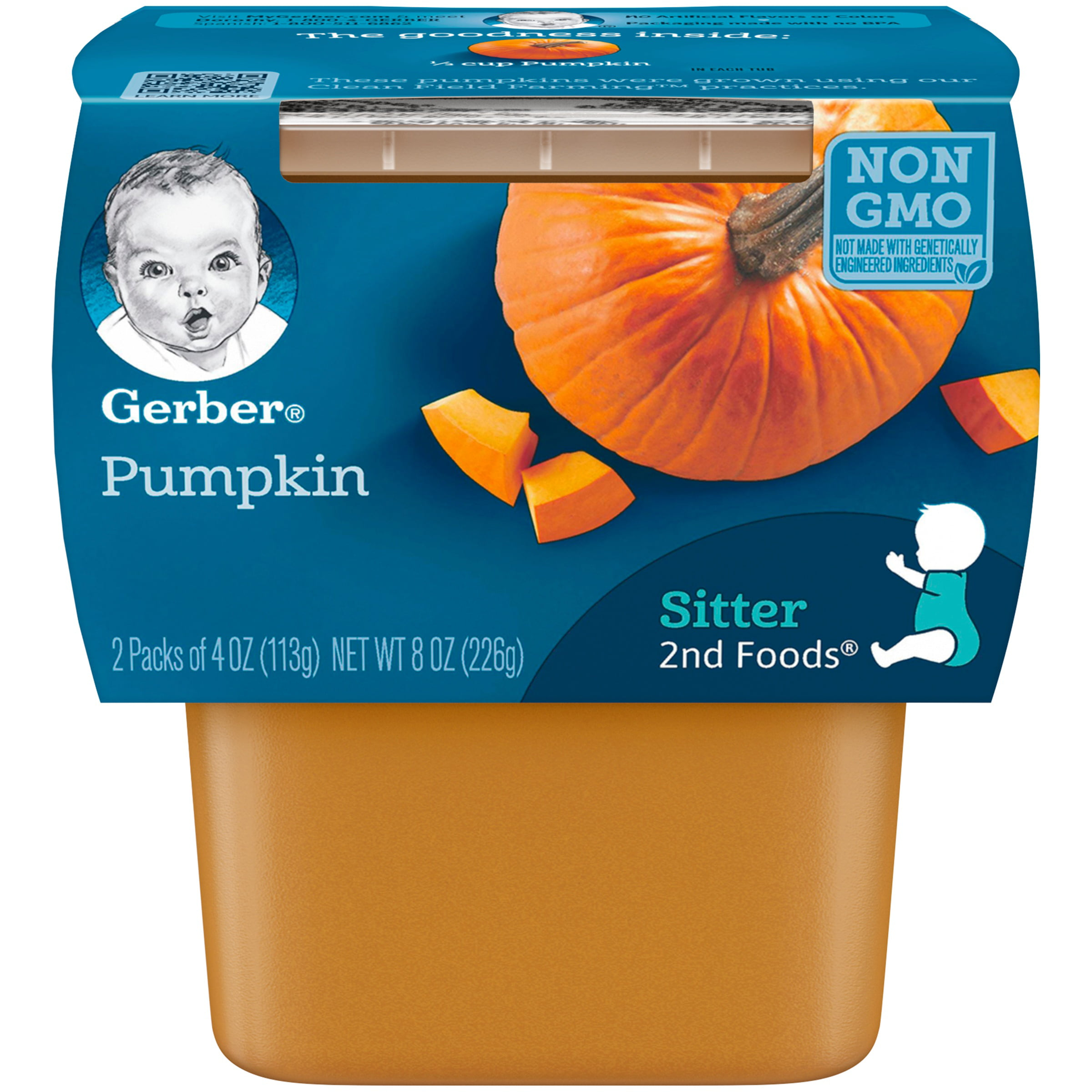 Gerber 2nd Foods Pumpkin Baby Food, 4 oz. Tubs, 2 count (Pack of 8) by Gerber