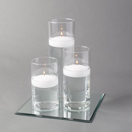 "Eastland Square Mirror 10"" and Cylinder Vase with 3"" White Floating Candle Set of 4"