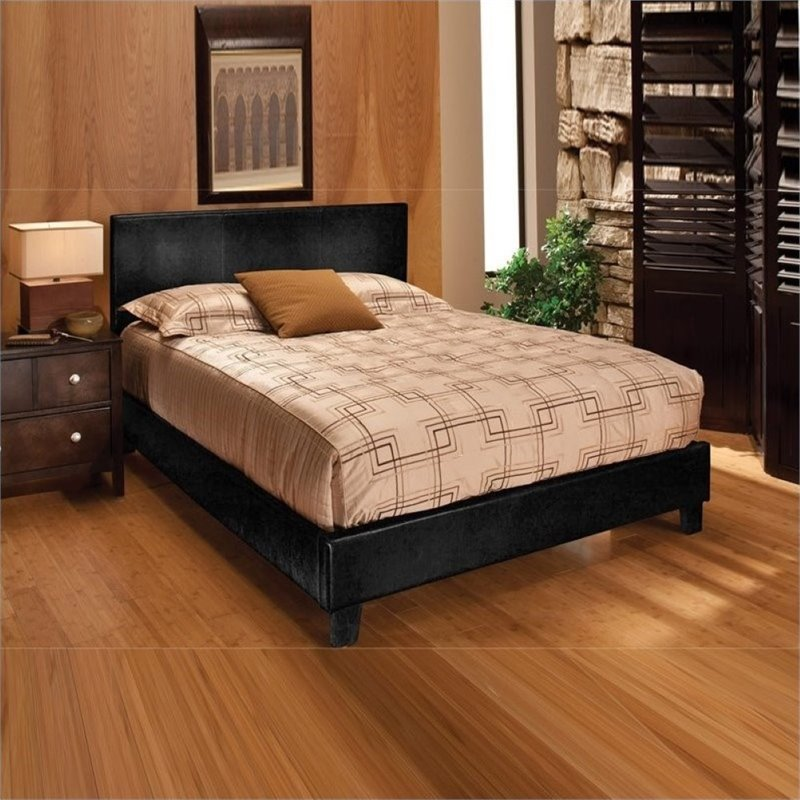 Bowery Hill Faux Leather Upholstered King Panel Bed in Black
