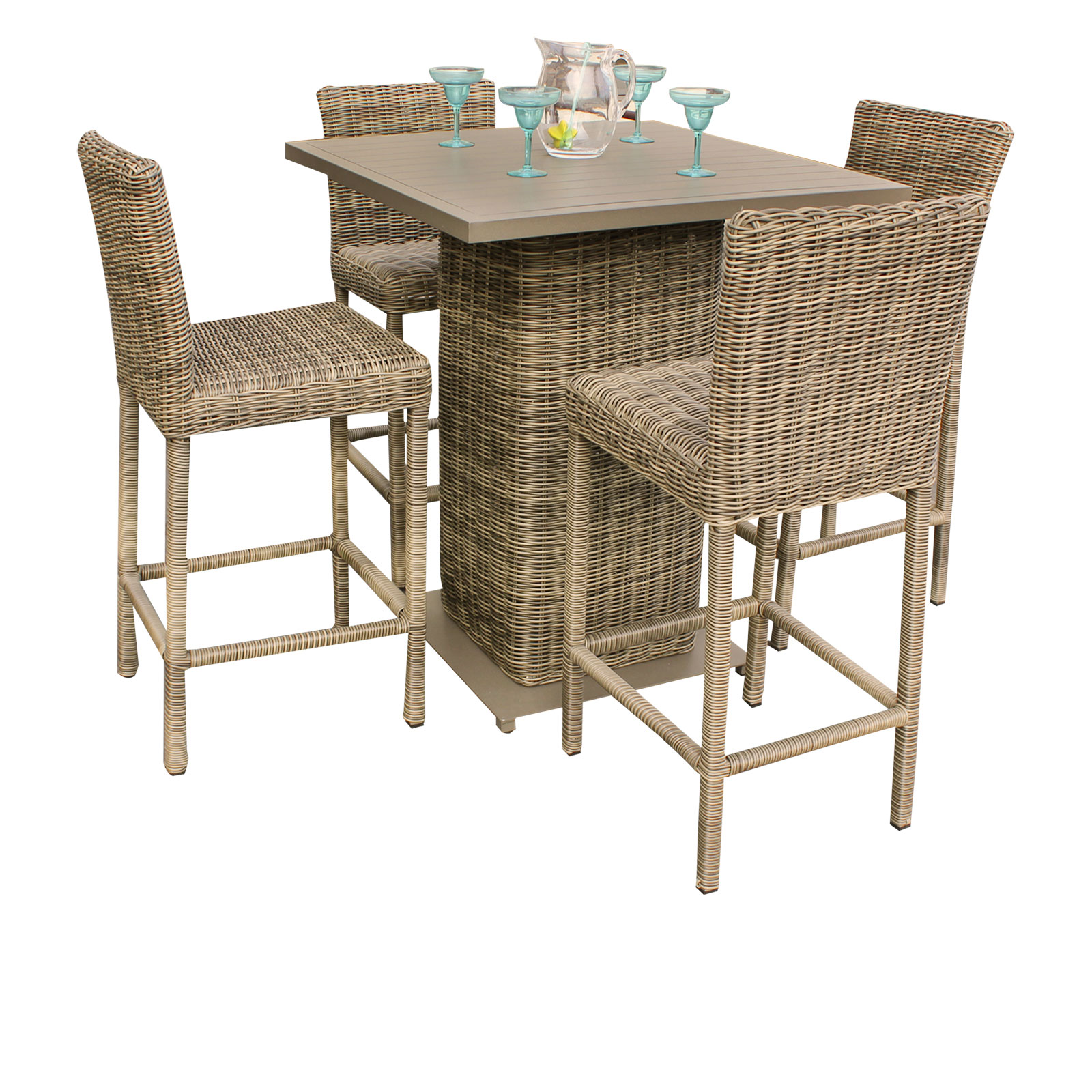 Royal Pub Table Set With Bar Stools 5 Piece Outdoor Wicker Patio Furniture by TK Classics