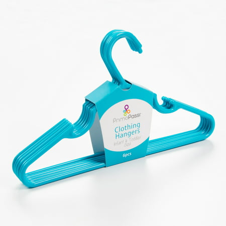 Primo Passi Infant & Toddler Clothing Hangers (Set of 6) - Blue Primo Passi Clothing Hangers are a convenient and stylish way to keep your child's closet neat and organized. Sized just right to fit infant and toddler clothing, these hangers are made with durable plastic and ultra-slim design to maximizes closet space. Package incluedes 6 hangers.