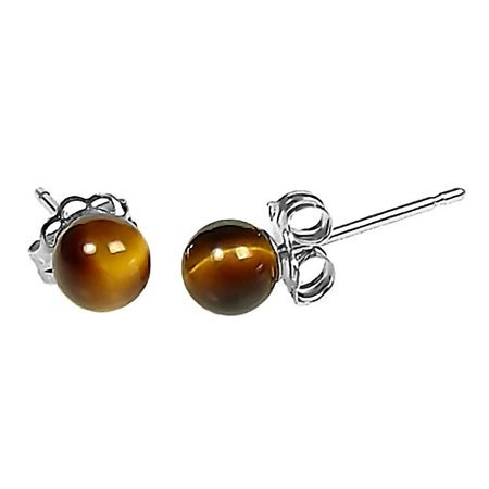 Tigers Eye 4mm Ball Stud Earrings 925 Sterling Silver (Lsu Tigers Post Earring)