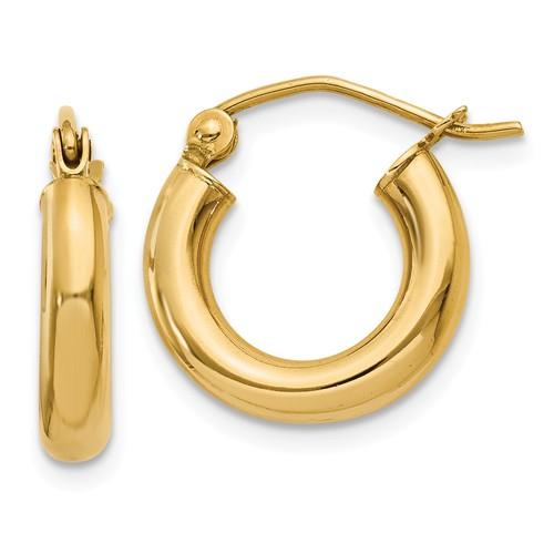 14k Yellow Gold Polished 3mm Round Hoop Earrings (14mm Diameter)
