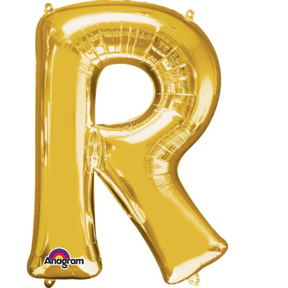 """Giant Gold Letter R Foil Balloon 32"""""""