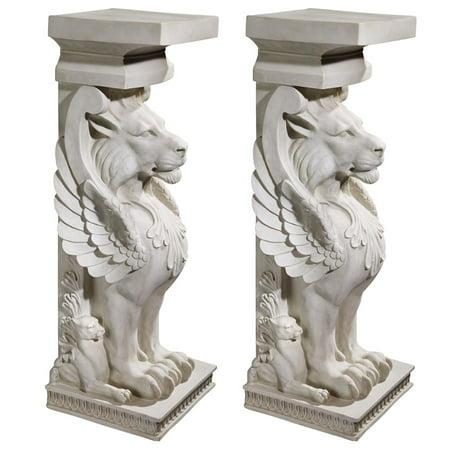 Design Toscano Trapezophoron Sculptural Winged Lion Pedestal: Set of Two