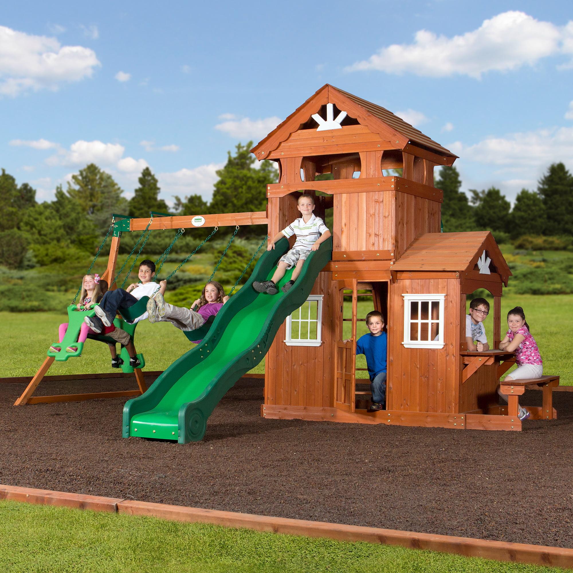 Backyard Discovery Shenandoah Cedar Wood Swing Set Walmart Com