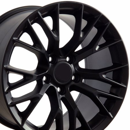 - 18x10.5 Wheel Fits Corvette, Camaro - C7 Z06 Style Satin Black Rim, Hollander 5734 - REAR ONLY