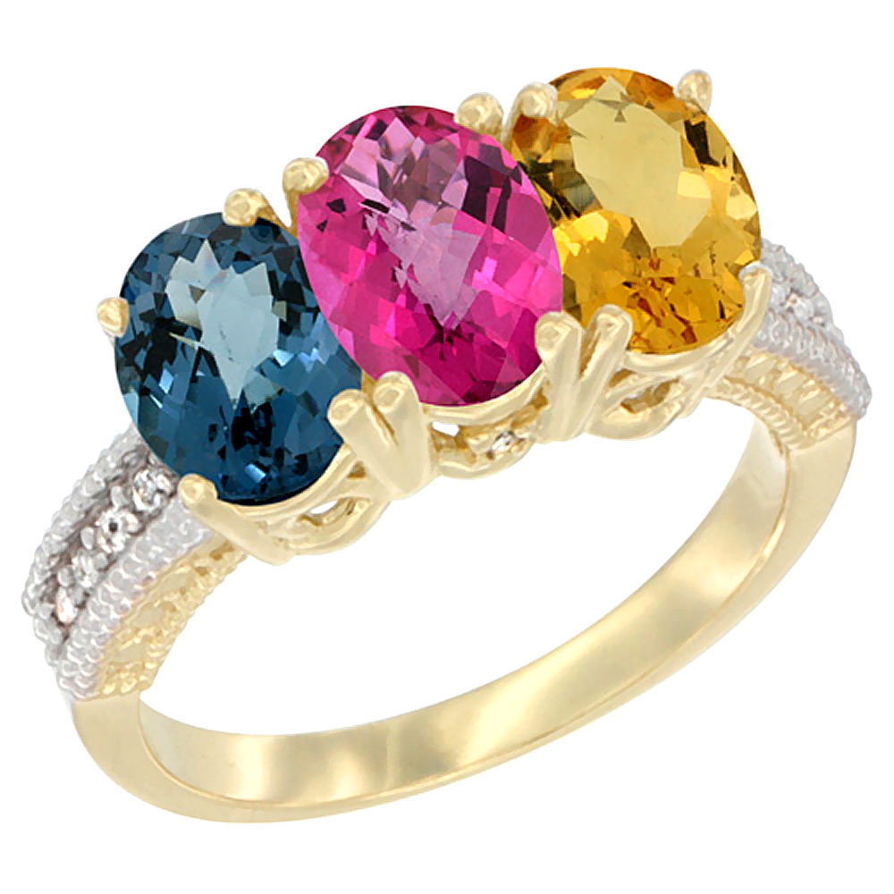 10K Yellow Gold Diamond Natural London Blue Topaz, Pink Topaz & Citrine Ring 3-Stone Oval 7x5 mm, sizes 5 10 by WorldJewels