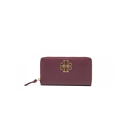 TORY BURCH BRITTEN ZIP CONTINENTAL WALLET CLUTCH BAG LEATHER Red Agate