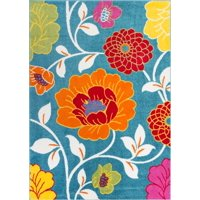 Well Woven StarBright Daisy Flowers Modern Floral Blue 5' x 7' Area Rug