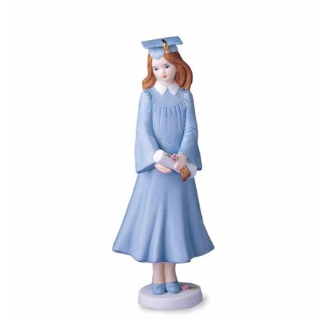 Porcelain Little Girl Figurine - Growing Up Girls Brunette Graduate in Blue Gown Porcelain Bisque Figurine