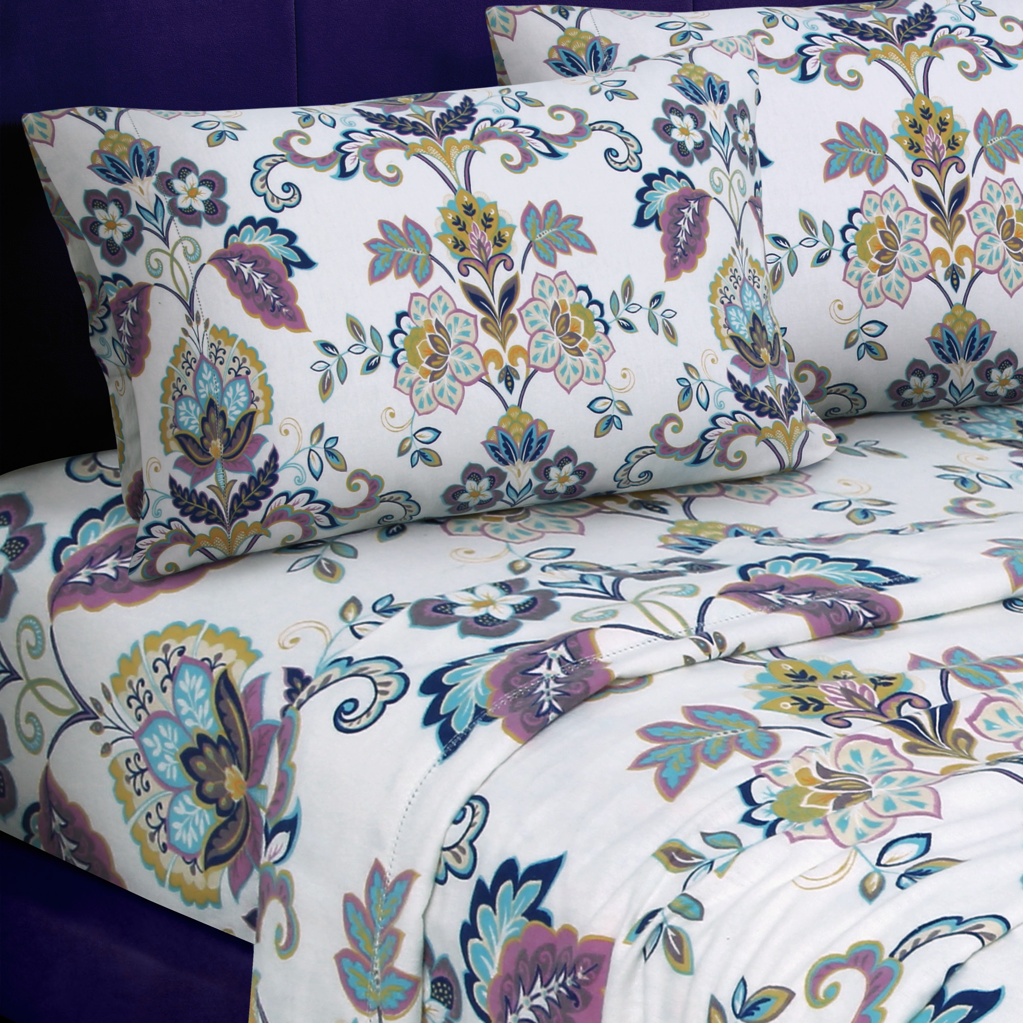 Heavyweight 200-GSM Abstract Paisley Printed Extra Deep Pocket Flannel Sheet Set Queen