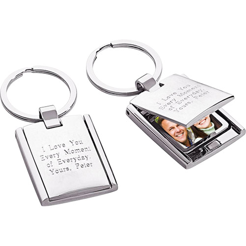 Personalized Silver-Plated Flip Photo Frame Key Ring