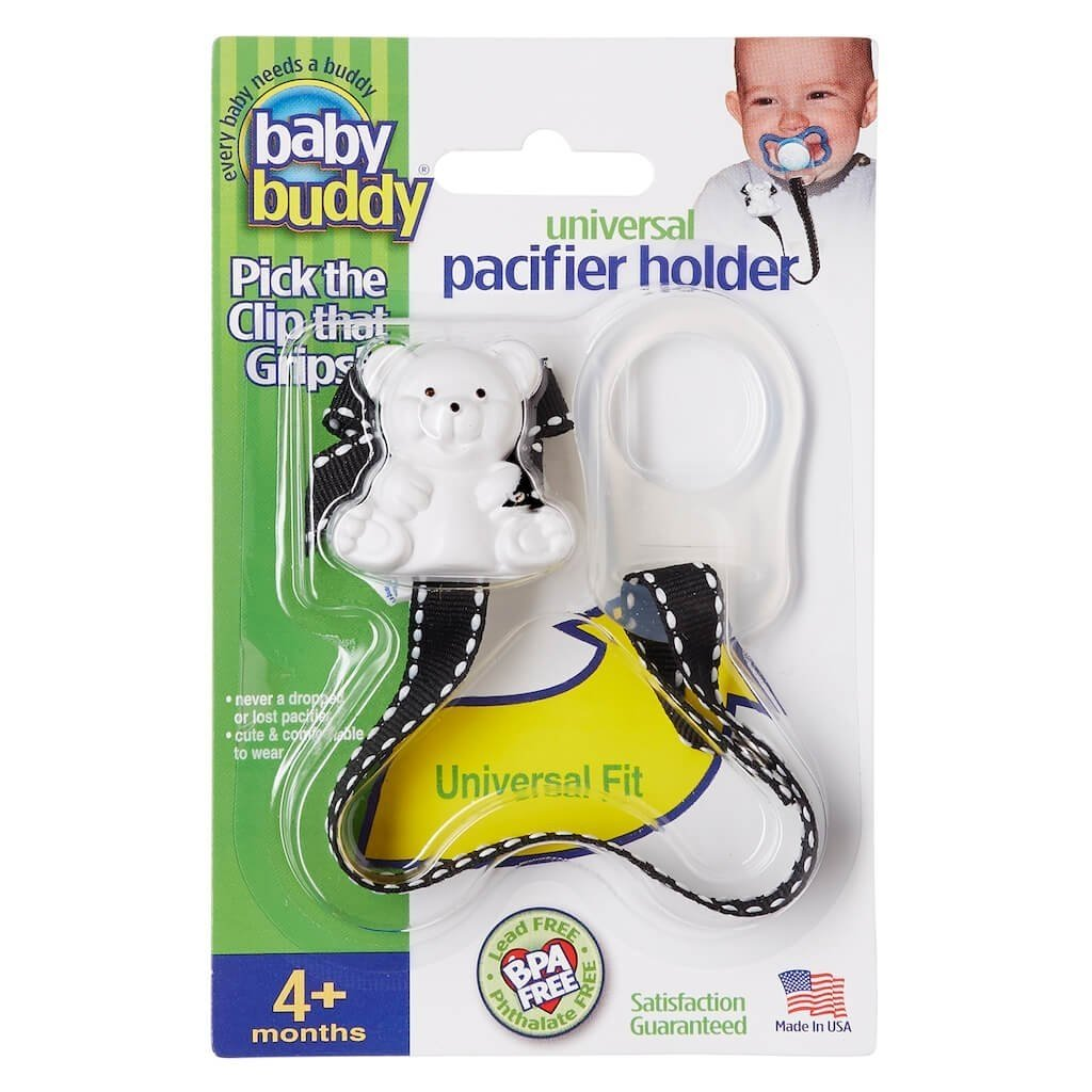 Universal Pacifier Holder Keeps All Pacifiers Nearby and Off the Ground, Pick the Clip that Grips so Kids Won't Pull the Binky Off, Metal Snaps instead of Velcro, BPA Free, STITCHES - OCEAN-WHITE