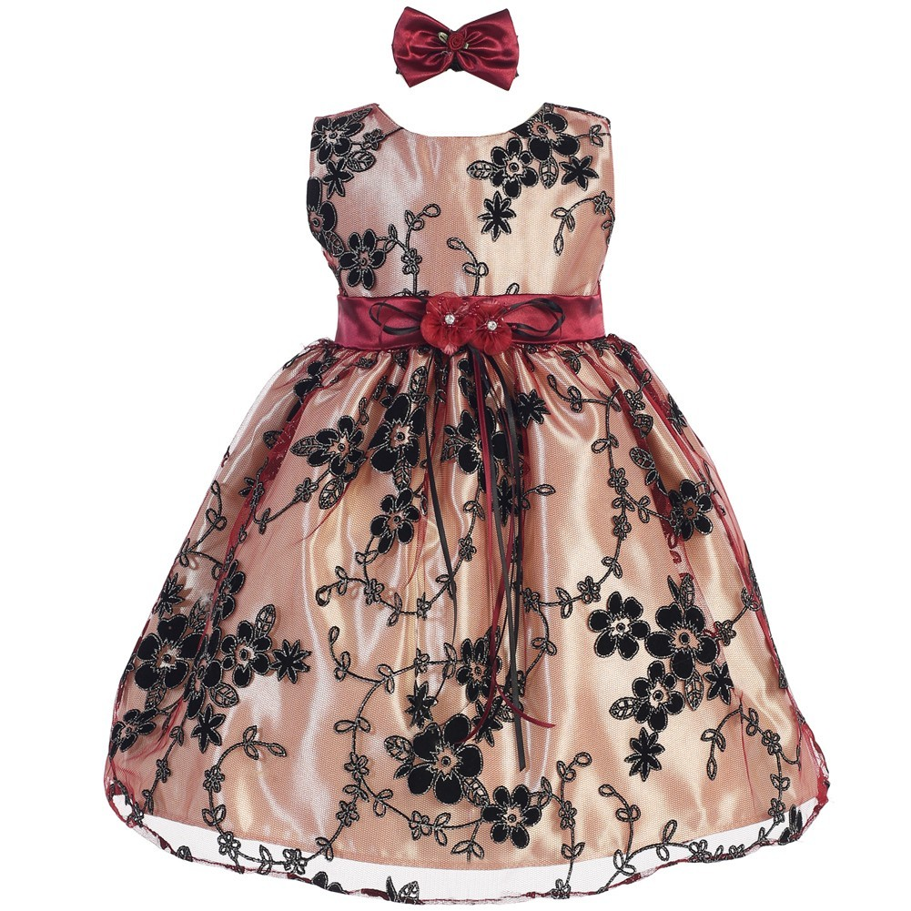 Baby Girls Light Gold Black Floral Embroidered Hair Bow Flower Girl Dress 6-9M