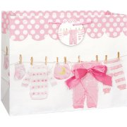 (3 Pack) Clothesline Baby Shower Gift Bag, 13 x 10.5 in, Pink, 1ct