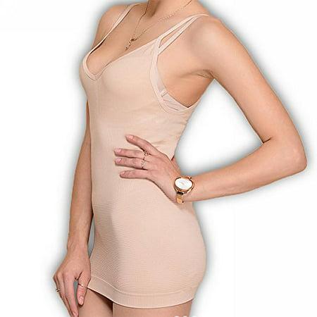 Womens Slim Fit  Ribbed Shapewear Tank  L Xl  Beige