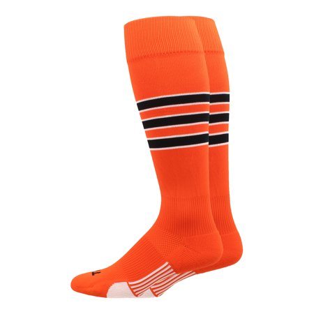 3 Stripe Socks (Dugout 3 Stripe Baseball Socks (Orange/Black/White, X-Large) -)