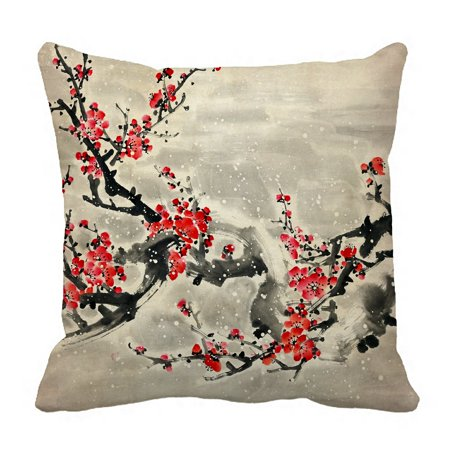 PHFZK Asian Pillow Case, Plum Blossom Traditional Chinese Painting Pillowcase Throw Pillow Cushion Cover Two Sides Size 18x18 inches