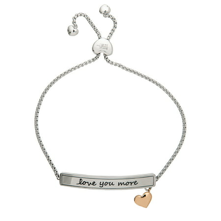 - Stainless Steel I Love You More Lariat Bracelet
